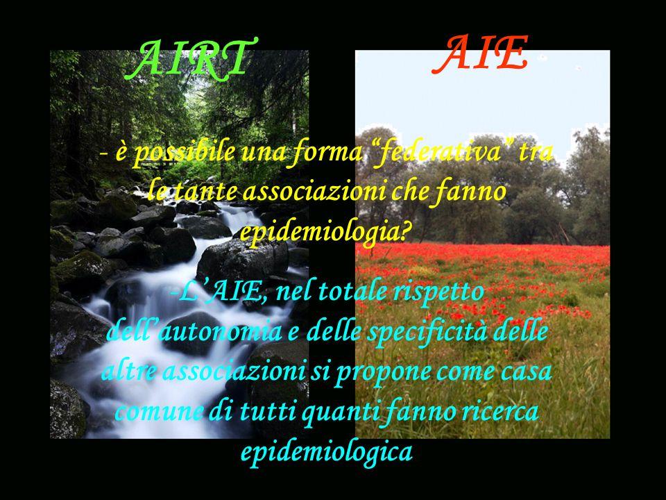AIE AIRT - è possibile una forma federativa tra le tante associazioni che fanno epidemiologia.