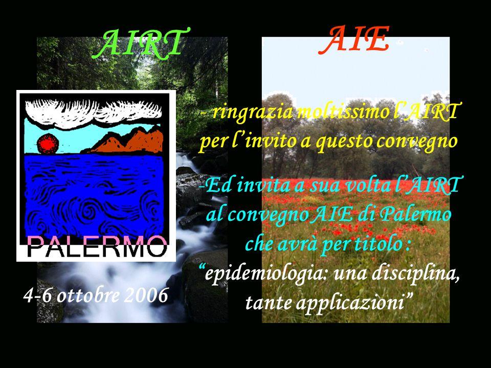 AIE AIRT - ringrazia moltissimo lAIRT per linvito a questo convegno -Ed invita a sua volta lAIRT al convegno AIE di Palermo che avrà per titolo :epidemiologia: una disciplina, tante applicazioni 4-6 ottobre 2006