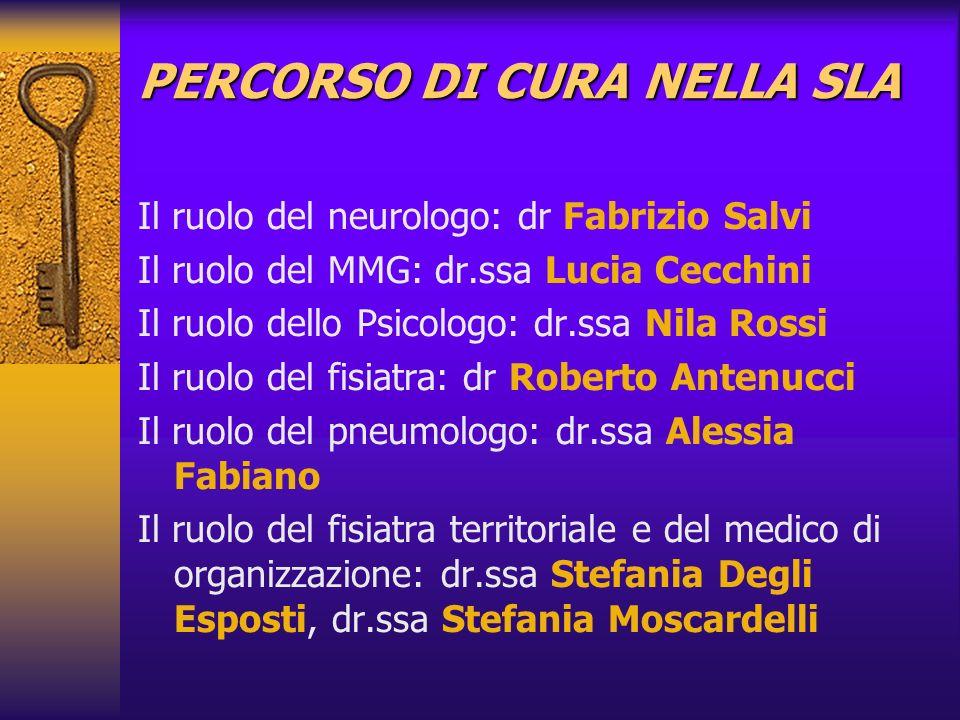 PERCORSO DI CURA NELLA SLA Il ruolo del neurologo: dr Fabrizio Salvi Il ruolo del MMG: dr.ssa Lucia Cecchini Il ruolo dello Psicologo: dr.ssa Nila Ros
