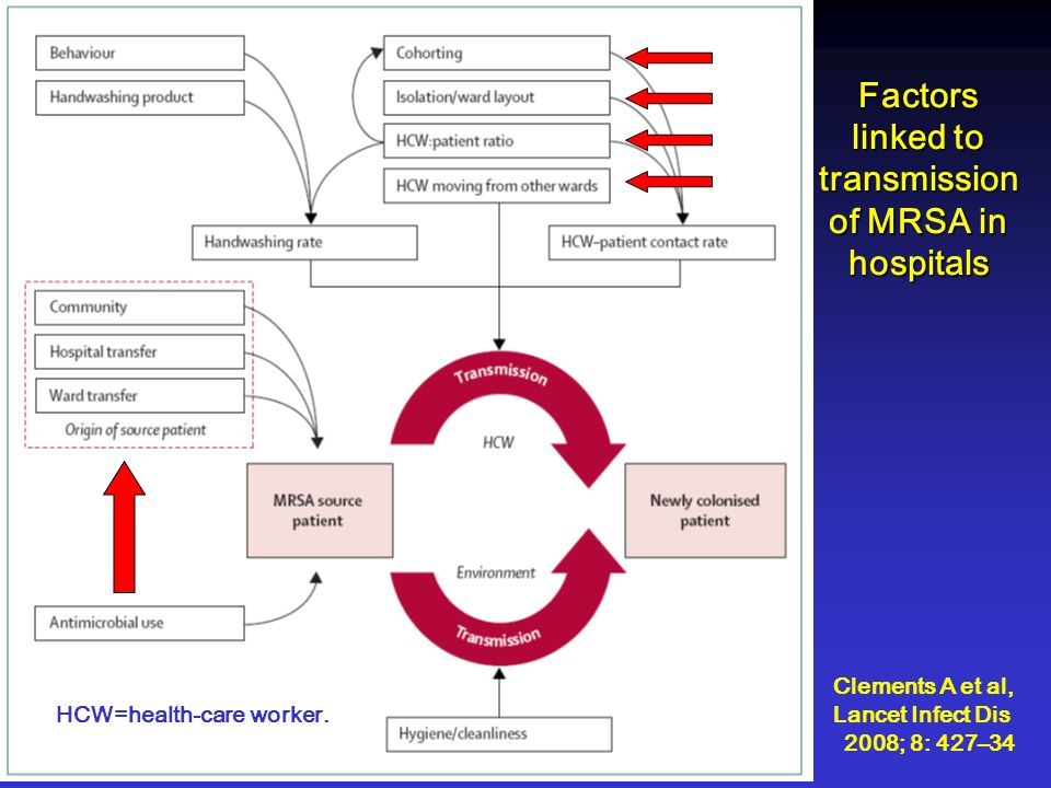 Factors linked to transmission of MRSA in hospitals HCW=health-care worker. Clements A et al, Lancet Infect Dis 2008; 8: 427–34