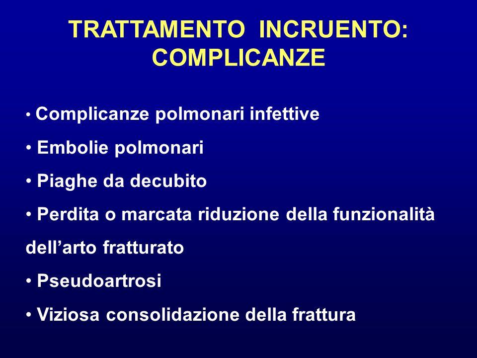 TRATTAMENTO INCRUENTO: COMPLICANZE Complicanze polmonari infettive Embolie polmonari Piaghe da decubito Perdita o marcata riduzione della funzionalità