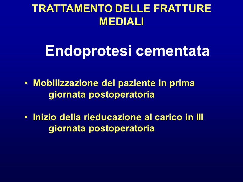 TRATTAMENTO DELLE FRATTURE MEDIALI Endoprotesi cementata Mobilizzazione del paziente in prima giornata postoperatoria Inizio della rieducazione al car