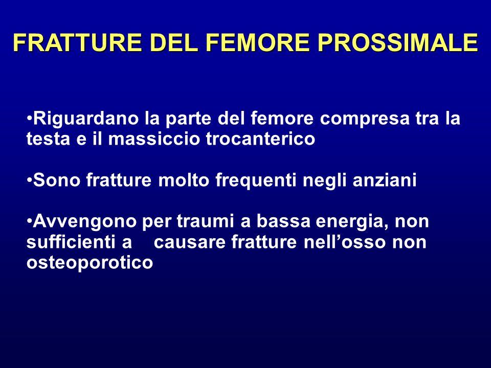 FRATTURE DEL FEMORE PROSSIMALE Riguardano la parte del femore compresa tra la testa e il massiccio trocanterico Sono fratture molto frequenti negli an