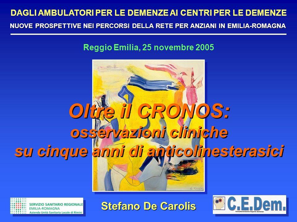 Reggio Emilia, 25 novembre 2005 Stefano De Carolis Oltre il CRONOS: osservazioni cliniche su cinque anni di anticolinesterasici Oltre il CRONOS: osser