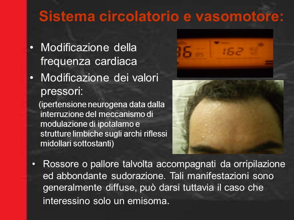 Sistema circolatorio e vasomotore: Modificazione della frequenza cardiaca Modificazione dei valori pressori: (ipertensione neurogena data dalla interr