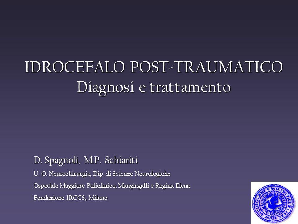 IDROCEFALO POST-TRAUMATICO Diagnosi e trattamento D. Spagnoli, M.P. Schiariti U. O. Neurochirurgia, Dip. di Scienze Neurologiche Ospedale Maggiore Pol