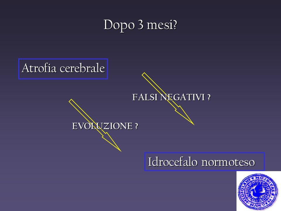 Dopo 3 mesi? Atrofia cerebrale Idrocefalo normoteso FALSI NEGATIVI ? EVOLUZIONE ?