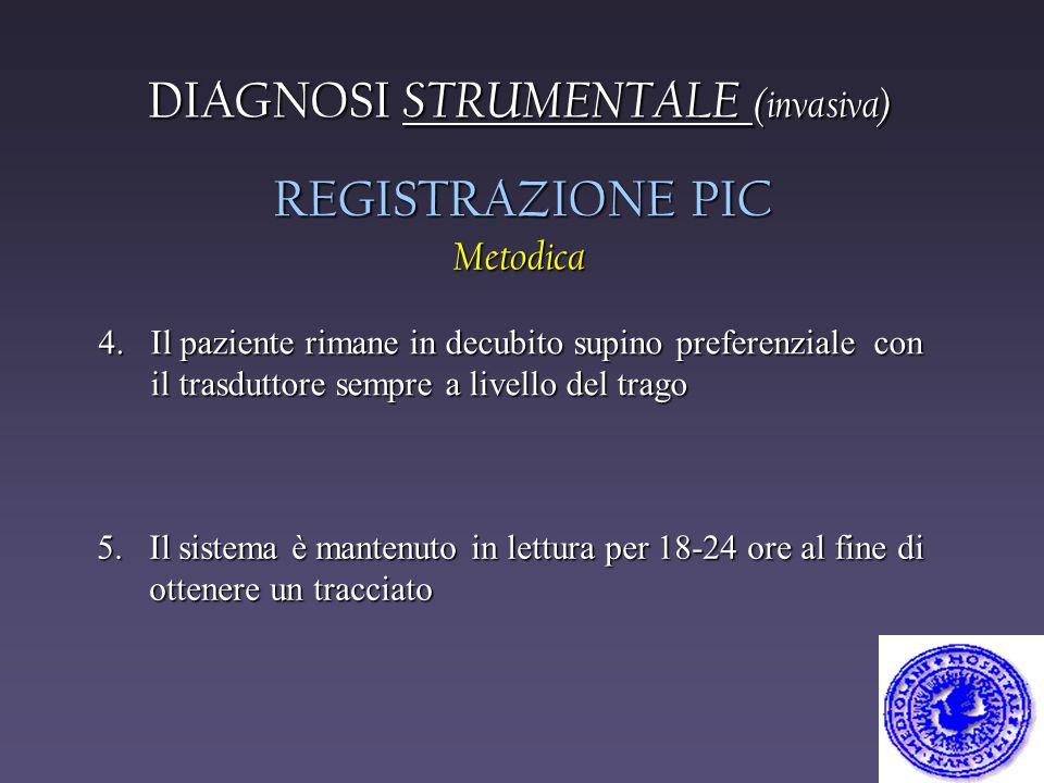 DIAGNOSI STRUMENTALE (invasiva) REGISTRAZIONE PIC Metodica 4. Il paziente rimane in decubito supino preferenziale con il trasduttore sempre a livello