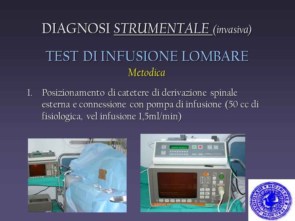 1.Posizionamento di catetere di derivazione spinale esterna e connessione con pompa di infusione (50 cc di fisiologica, vel infusione 1,5ml/min) TEST