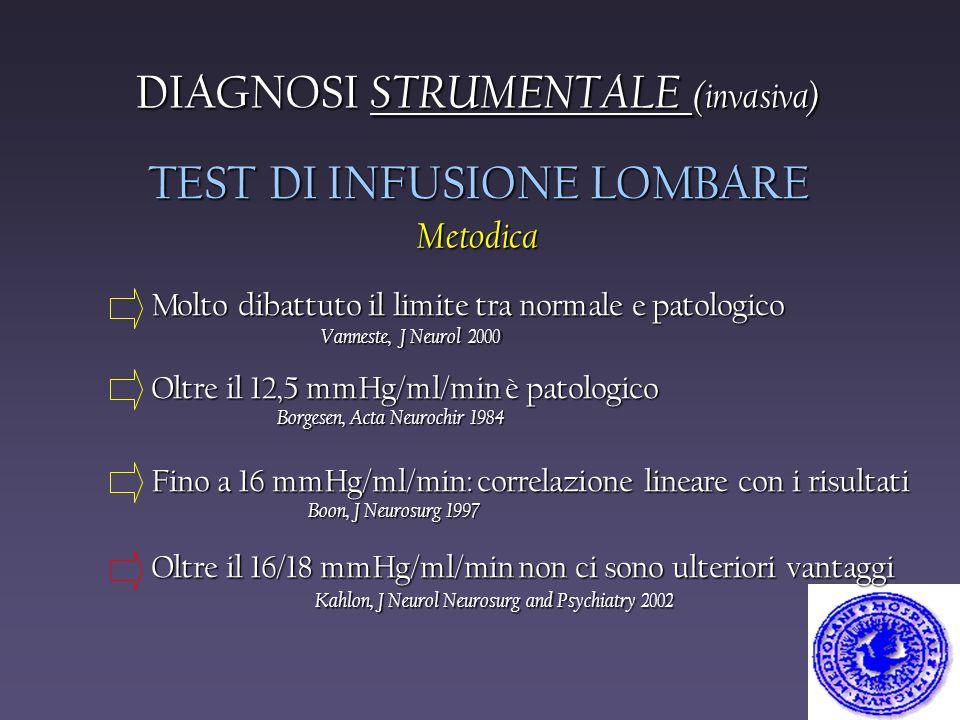 Molto dibattuto il limite tra normale e patologico Vanneste, J Neurol 2000 Vanneste, J Neurol 2000 Oltre il 12,5 mmHg/ml/min è patologico Borgesen, Ac