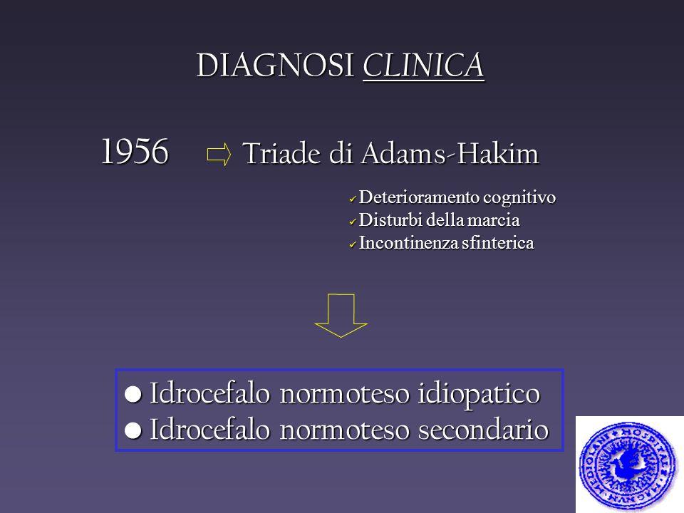 DIAGNOSI CLINICA 1956 Triade di Adams-Hakim Deterioramento cognitivo Deterioramento cognitivo Disturbi della marcia Disturbi della marcia Incontinenza