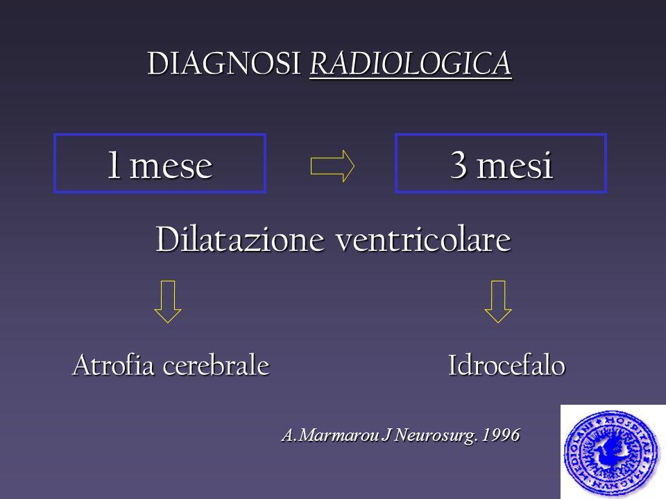 DIAGNOSI RADIOLOGICA A.Marmarou J Neurosurg. 1996 Atrofia cerebrale 1 mese 3 mesi Dilatazione ventricolare Idrocefalo