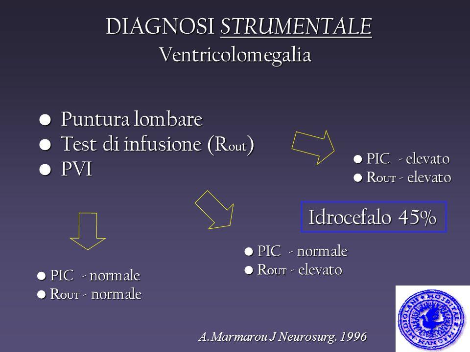 DIAGNOSI STRUMENTALE A.Marmarou J Neurosurg. 1996 Puntura lombare Puntura lombare Test di infusione (R out ) Test di infusione (R out ) PVI PVI PIC -