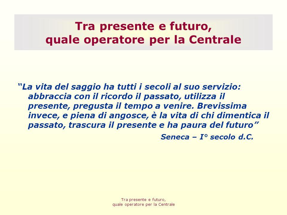 Bologna, 29 settembre 09 Tra presente e futuro, quale operatore per la Centrale Il passato…