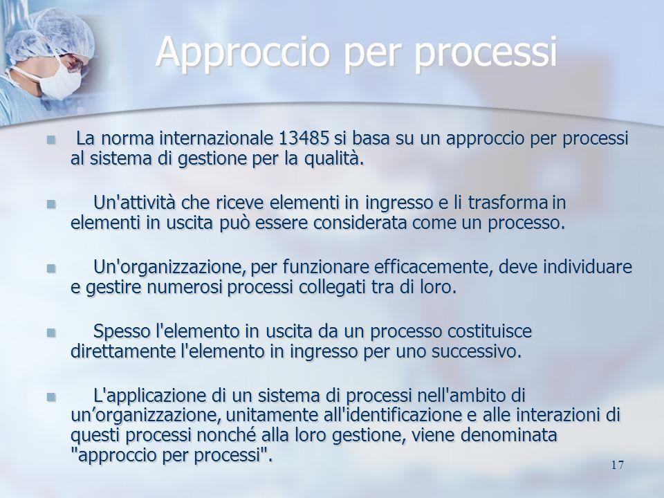17 Approccio per processi La norma internazionale 13485 si basa su un approccio per processi al sistema di gestione per la qualità. La norma internazi