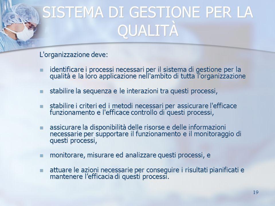 19 SISTEMA DI GESTIONE PER LA QUALITÀ L'organizzazione deve: identificare i processi necessari per il sistema di gestione per la qualità e la loro app