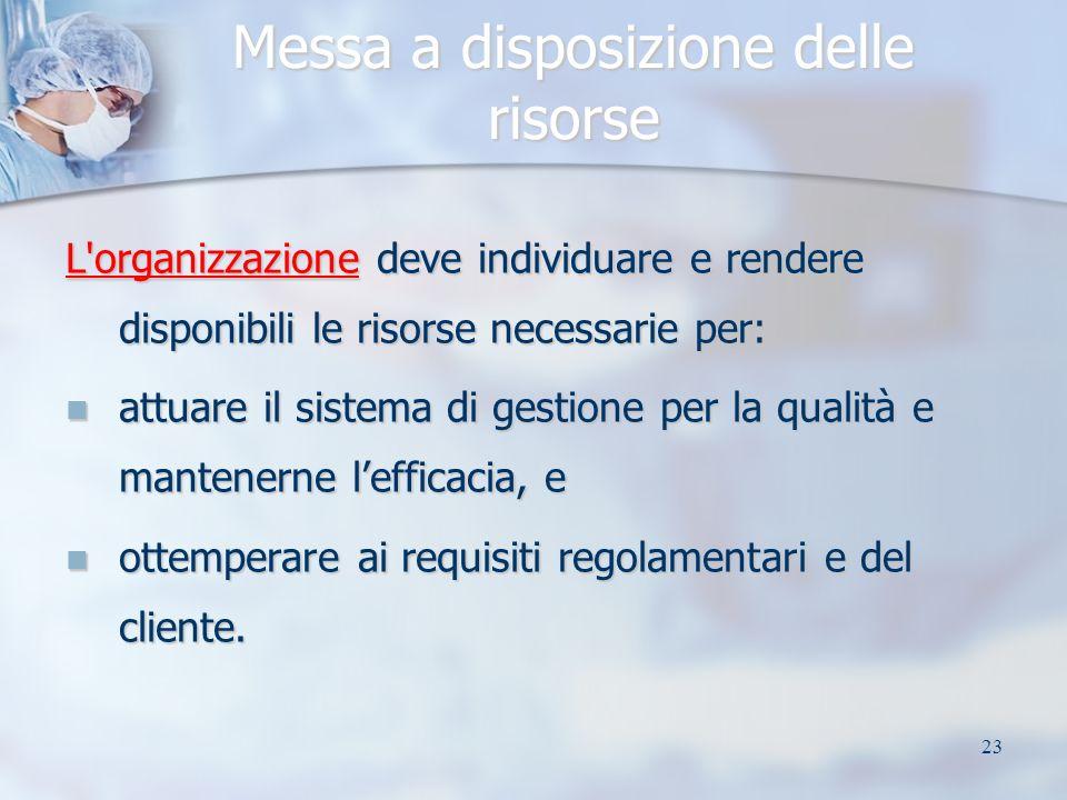 23 Messa a disposizione delle risorse L'organizzazione deve individuare e rendere disponibili le risorse necessarie per: attuare il sistema di gestion