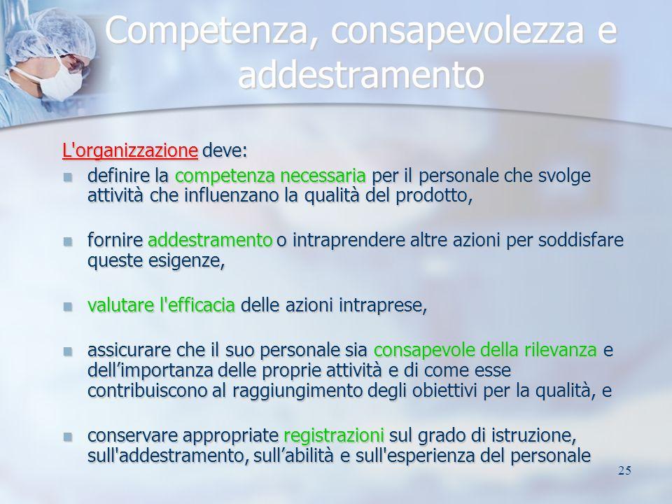 25 Competenza, consapevolezza e addestramento L'organizzazione deve: definire la competenza necessaria per il personale che svolge attività che influe