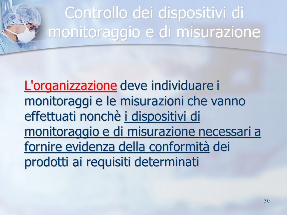 30 Controllo dei dispositivi di monitoraggio e di misurazione L organizzazione deve individuare i monitoraggi e le misurazioni che vanno effettuati nonchè i dispositivi di monitoraggio e di misurazione necessari a fornire evidenza della conformità dei prodotti ai requisiti determinati