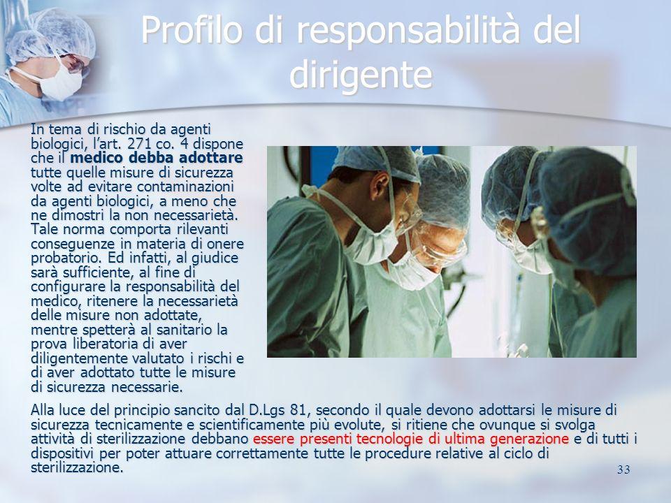 33 Profilo di responsabilità del dirigente In tema di rischio da agenti biologici, lart. 271 co. 4 dispone che il medico debba adottare tutte quelle m