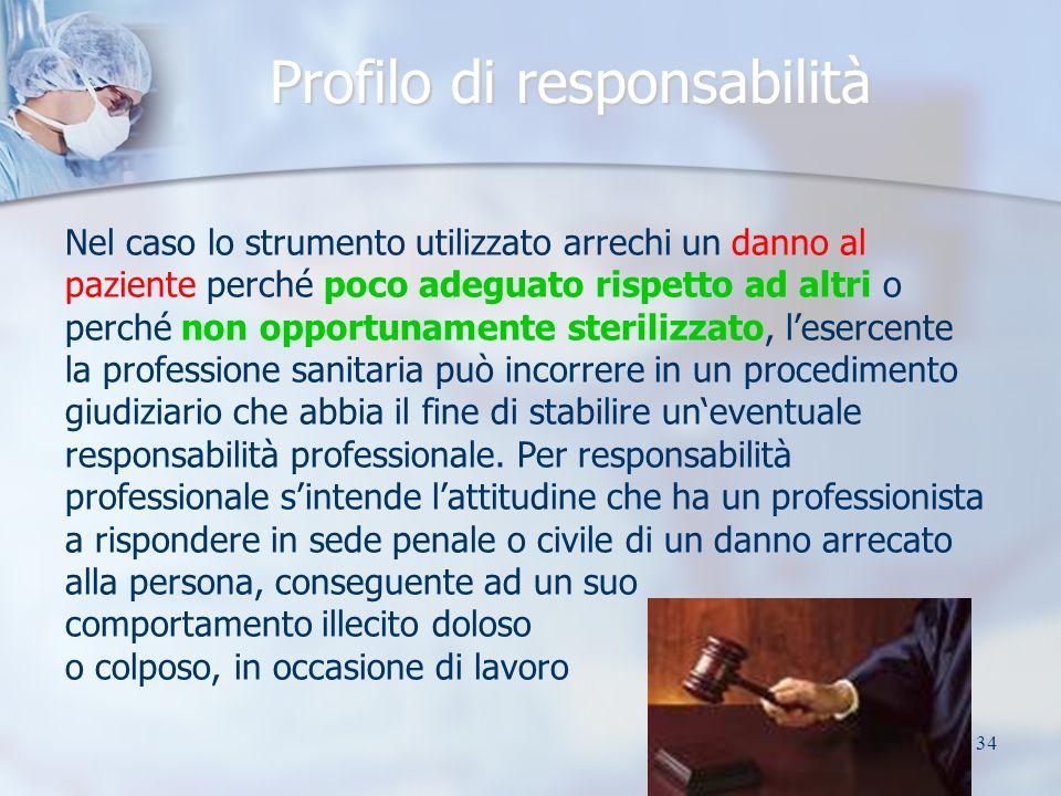 34 Profilo di responsabilità Nel caso lo strumento utilizzato arrechi un danno al paziente perché poco adeguato rispetto ad altri o perché non opportu