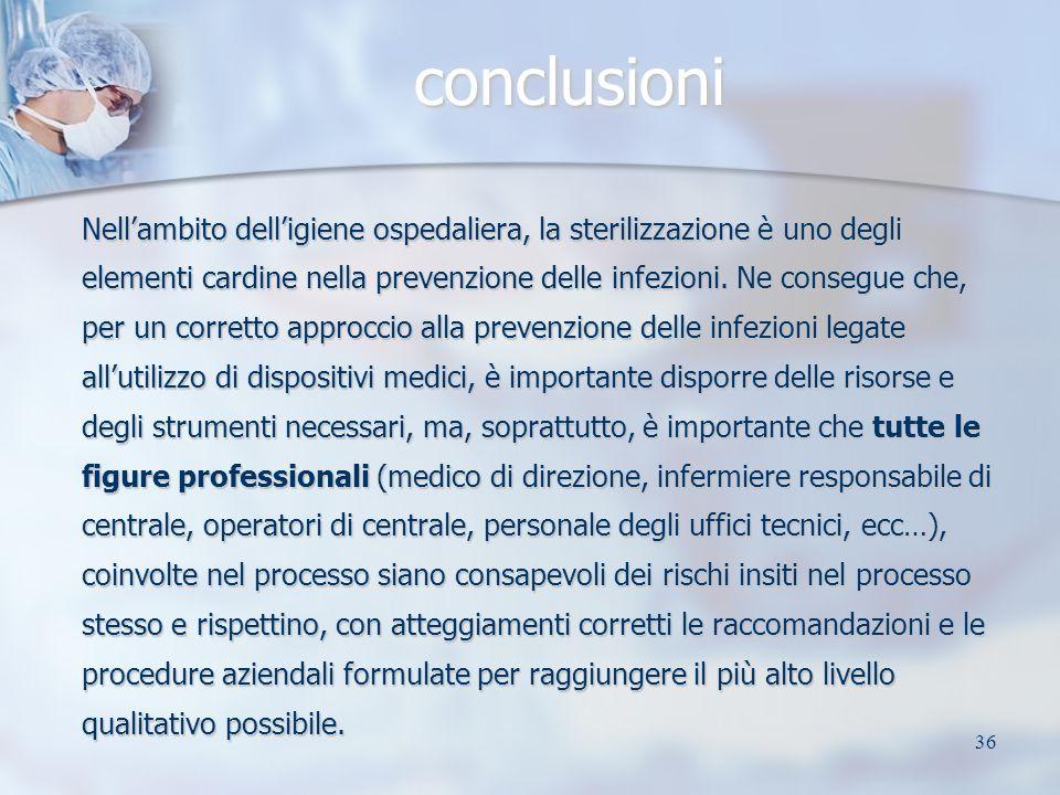 36 conclusioni Nellambito delligiene ospedaliera, la sterilizzazione è uno degli elementi cardine nella prevenzione delle infezioni. Ne consegue che,