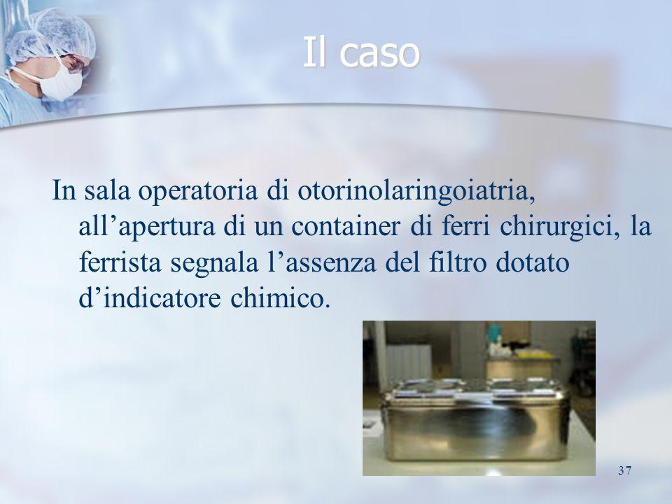 37 Il caso In sala operatoria di otorinolaringoiatria, allapertura di un container di ferri chirurgici, la ferrista segnala lassenza del filtro dotato