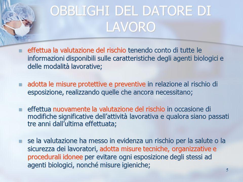 6 OBBLIGHI DEL DATORE DI LAVORO adotta misure specifiche per le strutture sanitarie e veterinarie, per i laboratori e gli stabulari, per i processi industriali; adotta misure specifiche per le strutture sanitarie e veterinarie, per i laboratori e gli stabulari, per i processi industriali; adotta specifiche misure per lemergenza in caso di incidenti che possono provocare la dispersione nellambiente di agenti biologici di gruppo 2, 3 o 4; adotta specifiche misure per lemergenza in caso di incidenti che possono provocare la dispersione nellambiente di agenti biologici di gruppo 2, 3 o 4; gruppo 1: agente che presenta poche probabilità di causare malattie in soggetti umani gruppo 1: agente che presenta poche probabilità di causare malattie in soggetti umani gruppo 2: agente che può causare malattie in soggetti umani e costituire un rischio per i lavoratori; è poco probabile che si propaghi nella comunità; sono di norma disponibili efficaci misure profilattiche o terapeutiche gruppo 2: agente che può causare malattie in soggetti umani e costituire un rischio per i lavoratori; è poco probabile che si propaghi nella comunità; sono di norma disponibili efficaci misure profilattiche o terapeutiche gruppo 3: agente che può causare malattie gravi in soggetti umani e costituisce un serio rischio per i lavoratori; può propagarsi nella comunità ma di norma sono disponibili efficaci misure profilattiche o terapeutiche gruppo 3: agente che può causare malattie gravi in soggetti umani e costituisce un serio rischio per i lavoratori; può propagarsi nella comunità ma di norma sono disponibili efficaci misure profilattiche o terapeutiche gruppo 4: agente che può causare malattie gravi in soggetti umani e costituisce un serio rischio per i lavoratori; può presentare un elevato rischio di propagazione nella comunità; non sono disponibili, di norma, efficaci misure profilattiche o terapeutiche.