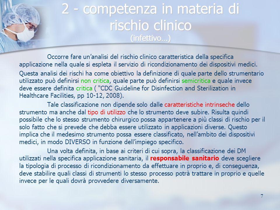 7 2 - competenza in materia di rischio clinico (infettivo…) Occorre fare unanalisi del rischio clinico caratteristica della specifica applicazione nel