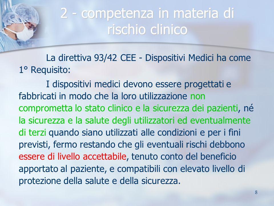 8 2 - competenza in materia di rischio clinico La direttiva 93/42 CEE - Dispositivi Medici ha come 1° Requisito: I dispositivi medici devono essere pr