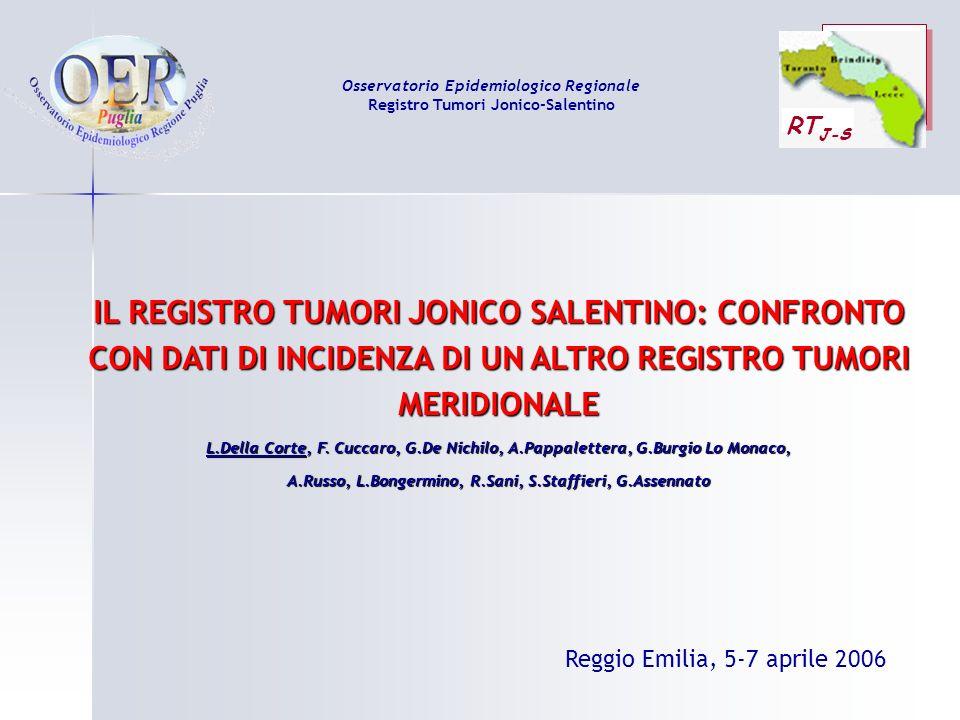 IL REGISTRO TUMORI JONICO SALENTINO: CONFRONTO CON DATI DI INCIDENZA DI UN ALTRO REGISTRO TUMORI MERIDIONALE L.Della Corte, F. Cuccaro, G.De Nichilo,