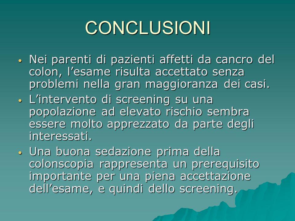 CONCLUSIONI Nei parenti di pazienti affetti da cancro del colon, lesame risulta accettato senza problemi nella gran maggioranza dei casi. Nei parenti