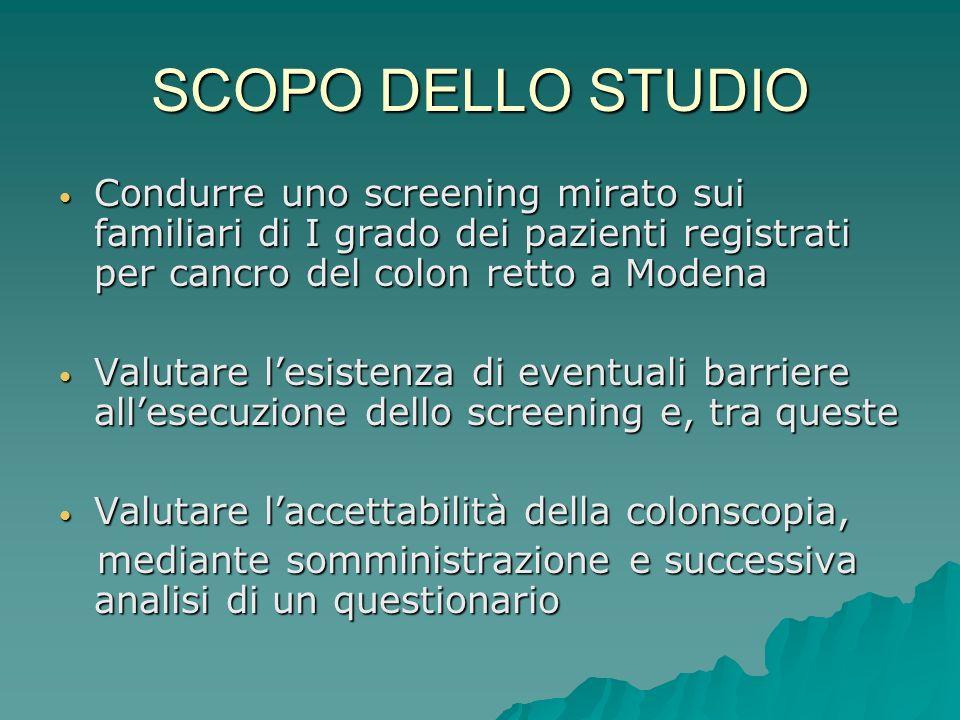 SCOPO DELLO STUDIO Condurre uno screening mirato sui familiari di I grado dei pazienti registrati per cancro del colon retto a Modena Condurre uno scr