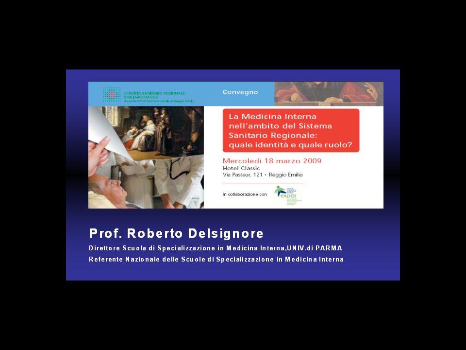 LA MEDICINA INTERNA IN ITALIA I correttivi più rilevanti possono essere: a) ladozione di una cartella clinica impostata per problemi; b) lacquisizione di una formazione alla gestione del paziente urgente; c) listituzione nei Dip.