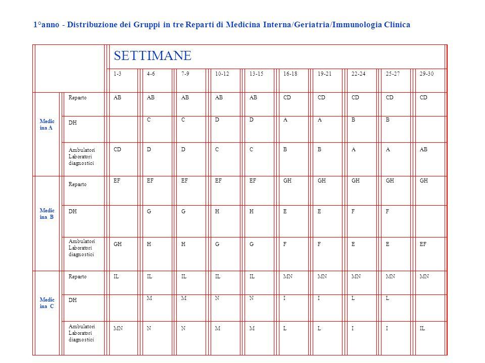 1°anno - Distribuzione dei Gruppi in tre Reparti di Medicina Interna/Geriatria/Immunologia Clinica SETTIMANE 1-34-67-910-1213-1516-1819-2122-2425-2729