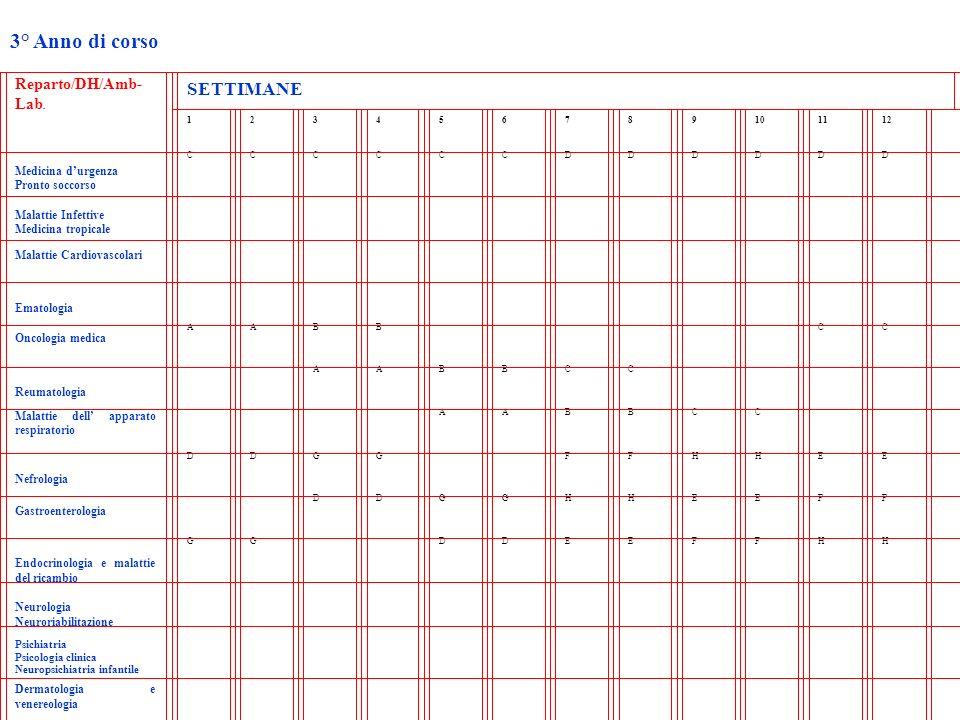 3° Anno di corso Reparto/DH/Amb- Lab. SETTIMANE 123456789101112 Medicina durgenza Pronto soccorso CCCCCCDDDDDD Malattie Infettive Medicina tropicale M