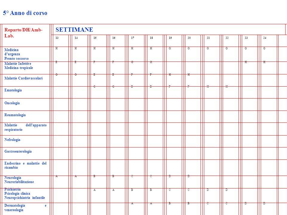 5° Anno di corso Reparto/DH/Amb- Lab. SETTIMANE 131415161718192021222324 Medicina durgenza Pronto soccorso HHHHHHGGGGGG Malattie Infettive Medicina tr