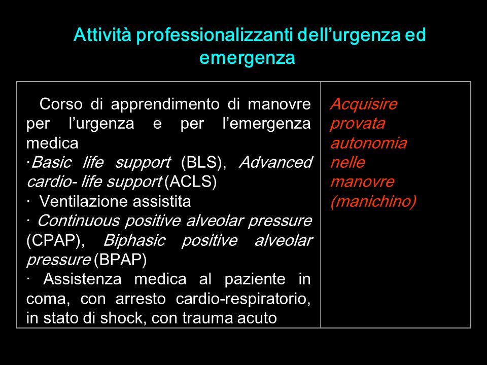 · Corso di apprendimento di manovre per lurgenza e per lemergenza medica ·Basic life support (BLS), Advanced cardio- life support (ACLS) · Ventilazion