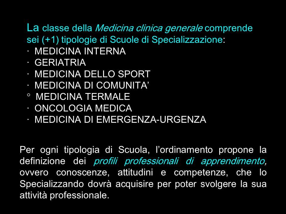 La classe della Medicina clinica generale comprende sei (+1) tipologie di Scuole di Specializzazione: · MEDICINA INTERNA · GERIATRIA · MEDICINA DELLO