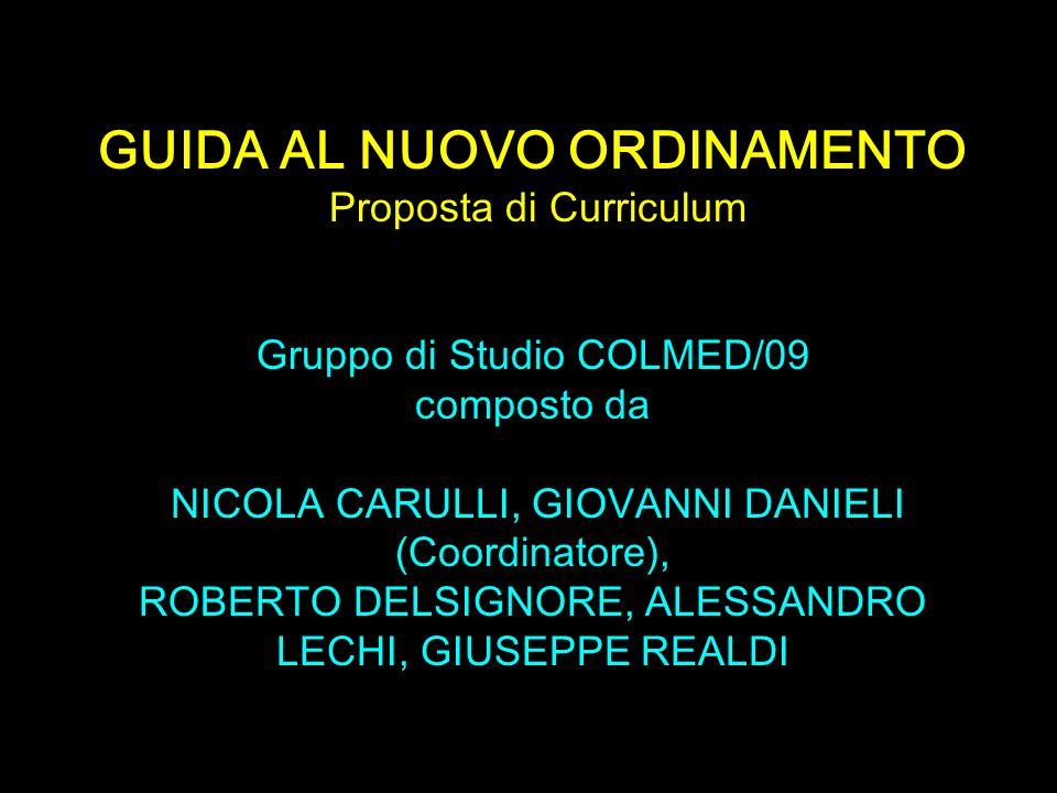 Scuola di Specializzazione in Medicina Interna GUIDA AL NUOVO ORDINAMENTO Proposta di Curriculum Gruppo di Studio COLMED/09 composto da NICOLA CARULLI
