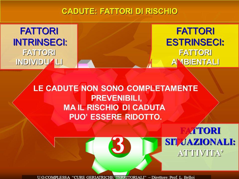 CADUTE: FATTORI DI RISCHIO FATTORI ESTRINSECI: FATTORI AMBIENTALI FATTORISITUAZIONALI:ATTIVITA FATTORI INTRINSECI: INTRINSECI:FATTORIINDIVIDUALI LE CA