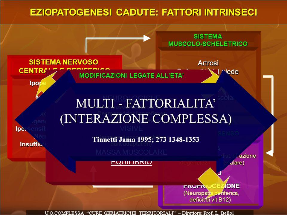 EZIOPATOGENESI CADUTE: FATTORI INTRINSECI SISTEMA NERVOSO CENTRALE E PERIFERICO Ipoperfusione cerebrale Demenza Morbo di Parkinson Ictus Mielopatia (s