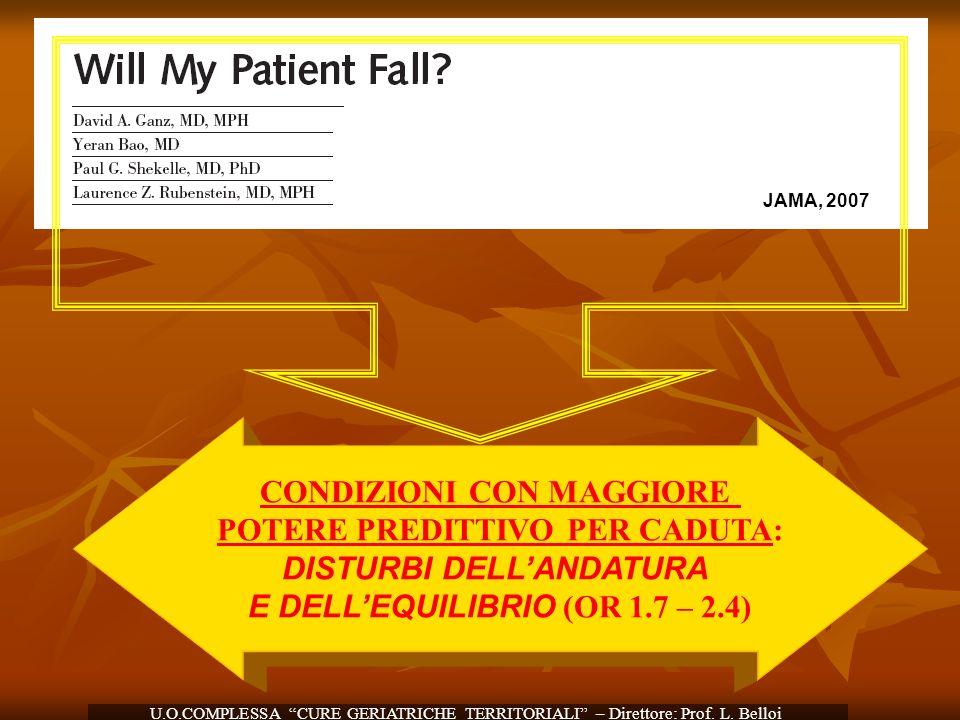 JAMA, 2007 CONDIZIONI CON MAGGIORE POTERE PREDITTIVO PER CADUTA: DISTURBI DELLANDATURA E DELLEQUILIBRIO (OR 1.7 – 2.4) U.O.COMPLESSA CURE GERIATRICHE
