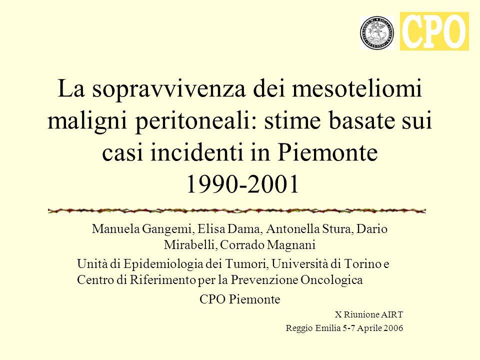 Contesto Rassegna sistematica degli studi di sopravvivenza dei mesoteliomi maligni basati sui dati di registri di popolazione Alcuni studi non sono informativi sui MM peritoneali (Spirtas et al, 1988; Van Gelder et al 1994; Berrino et al, 1998; Magnani et al, 2002; Mould et al, 2004; Gorini et al, 2005; Gennaro et al, 2005) Gli studi che presentano i risultati per i MM peritoneali mostrano: –Indicatori univocamente più favorevoli rispetto ai casi pleurici (Janssen-Heijnen et al, 1999; Neumann et al, 2001; Rosso et al, 2001; Barbieri et al, 2004) –Parziali contraddizioni tra i diversi indicatori utilizzati (Desoubeaux et al, 2001; Marinaccio et al, 2003; Merler et al, 2005)