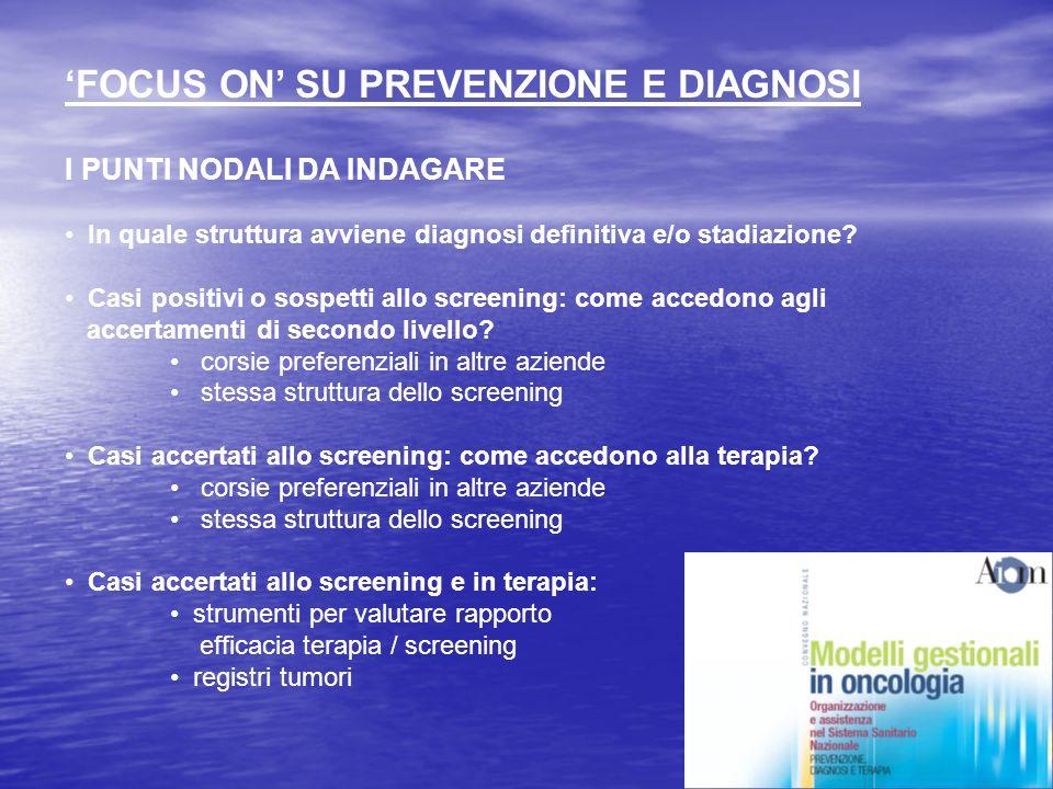 FOCUS ON SU PREVENZIONE E DIAGNOSI I PUNTI NODALI DA INDAGARE In quale struttura avviene diagnosi definitiva e/o stadiazione.