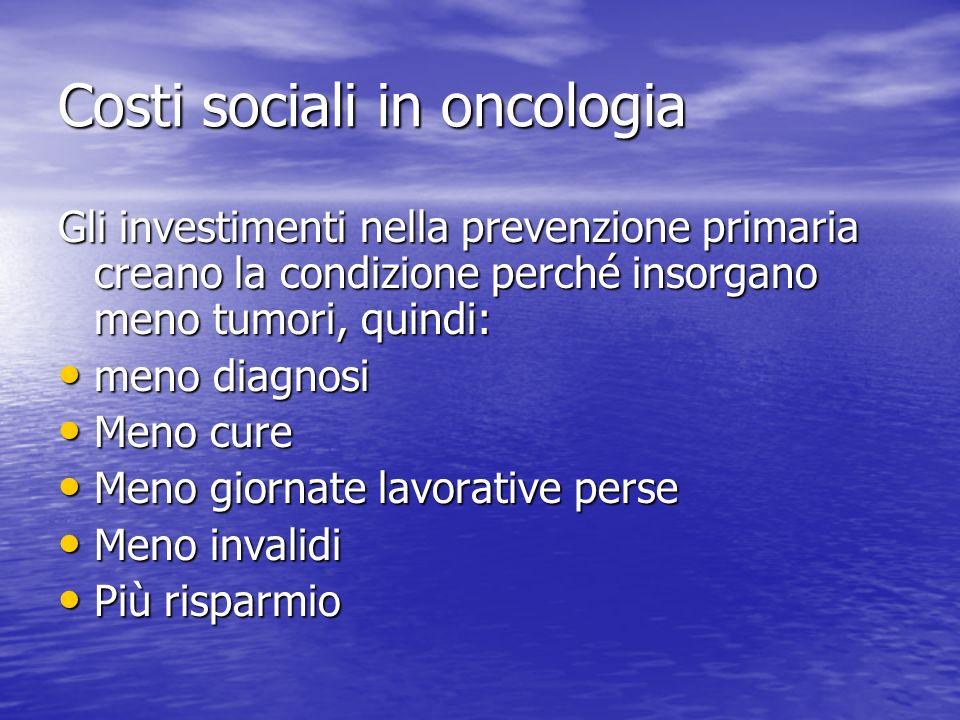 Costi sociali in oncologia Gli investimenti nella prevenzione primaria creano la condizione perché insorgano meno tumori, quindi: meno diagnosi meno diagnosi Meno cure Meno cure Meno giornate lavorative perse Meno giornate lavorative perse Meno invalidi Meno invalidi Più risparmio Più risparmio