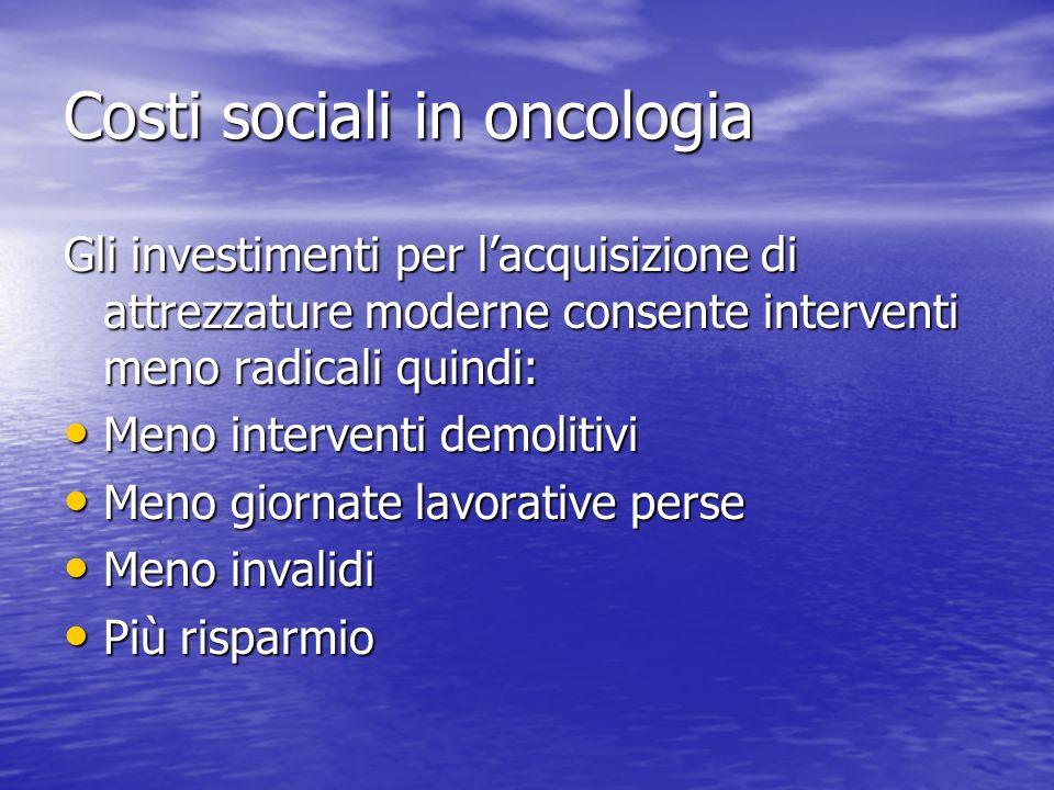Costi sociali in oncologia Gli investimenti per lacquisizione di attrezzature moderne consente interventi meno radicali quindi: Meno interventi demoli
