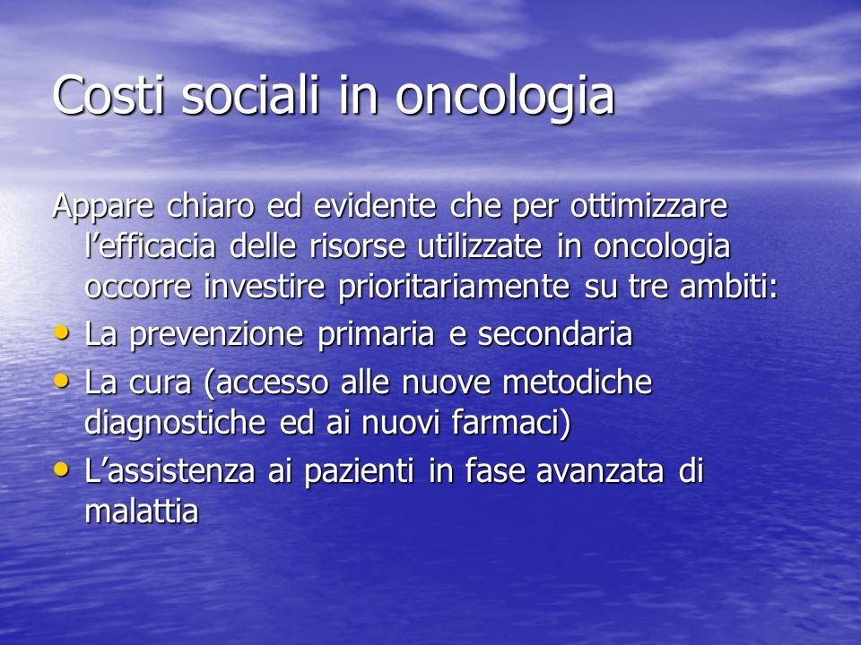 Costi sociali in oncologia Appare chiaro ed evidente che per ottimizzare lefficacia delle risorse utilizzate in oncologia occorre investire prioritari