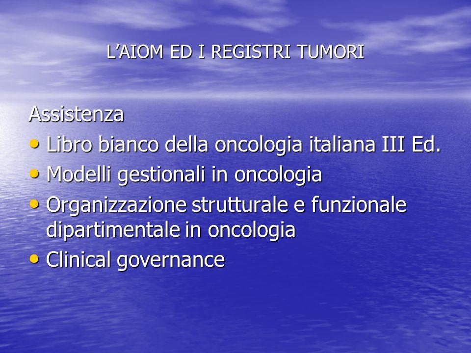 LAIOM ED I REGISTRI TUMORI Assistenza Libro bianco della oncologia italiana III Ed. Libro bianco della oncologia italiana III Ed. Modelli gestionali i