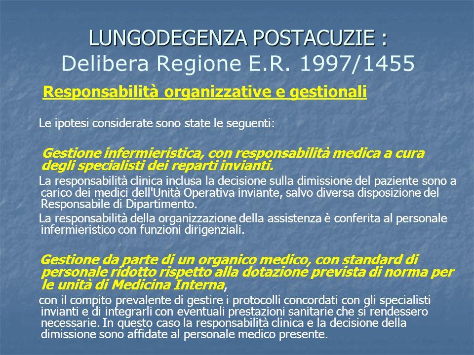 LUNGODEGENZA POSTACUZIE : LUNGODEGENZA POSTACUZIE : Delibera Regione E.R. 1997/1455 Responsabilità organizzative e gestionali Le ipotesi considerate s